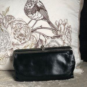 HOBO Lauren glazed clip black clutch wallet